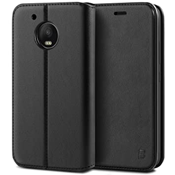 BEZ Funda Moto G5 Plus, Carcasa Compatible para Motorola Moto G5 Plus, Libro de Cuero con Tapa y Cartera, Cover Protectora con Ranura para Tarjetas y ...