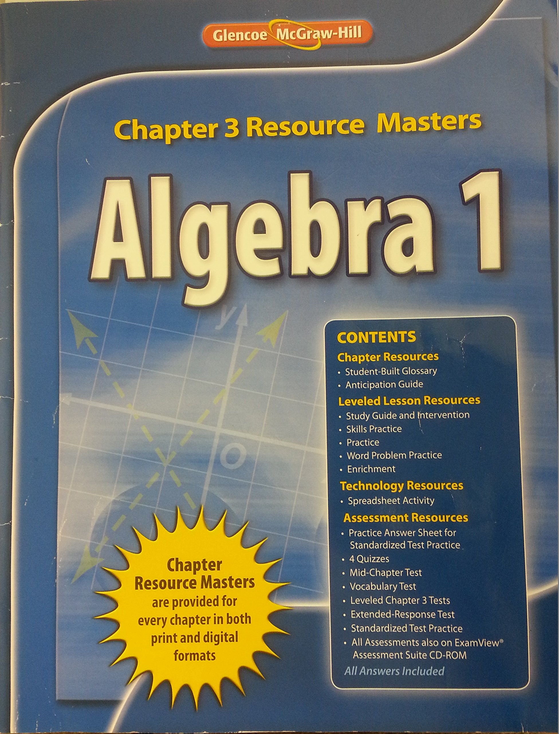 Glencoe Algebra 1 2008 Chapter 3 Resource Masters: Glencoe
