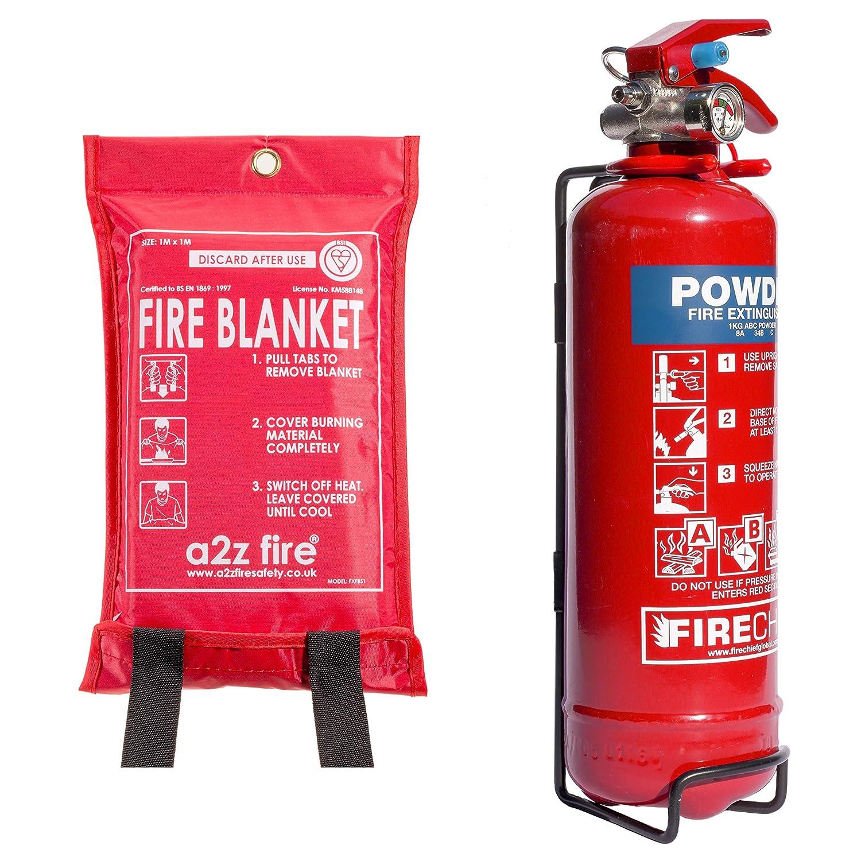 Fire Extinguisher & Fire Blanket : 1kg Powder Fire Extinguisher For Home, Kitchen, Car, Caravans & Boats A2Z Fire Extinguisher SVB1/FXP1