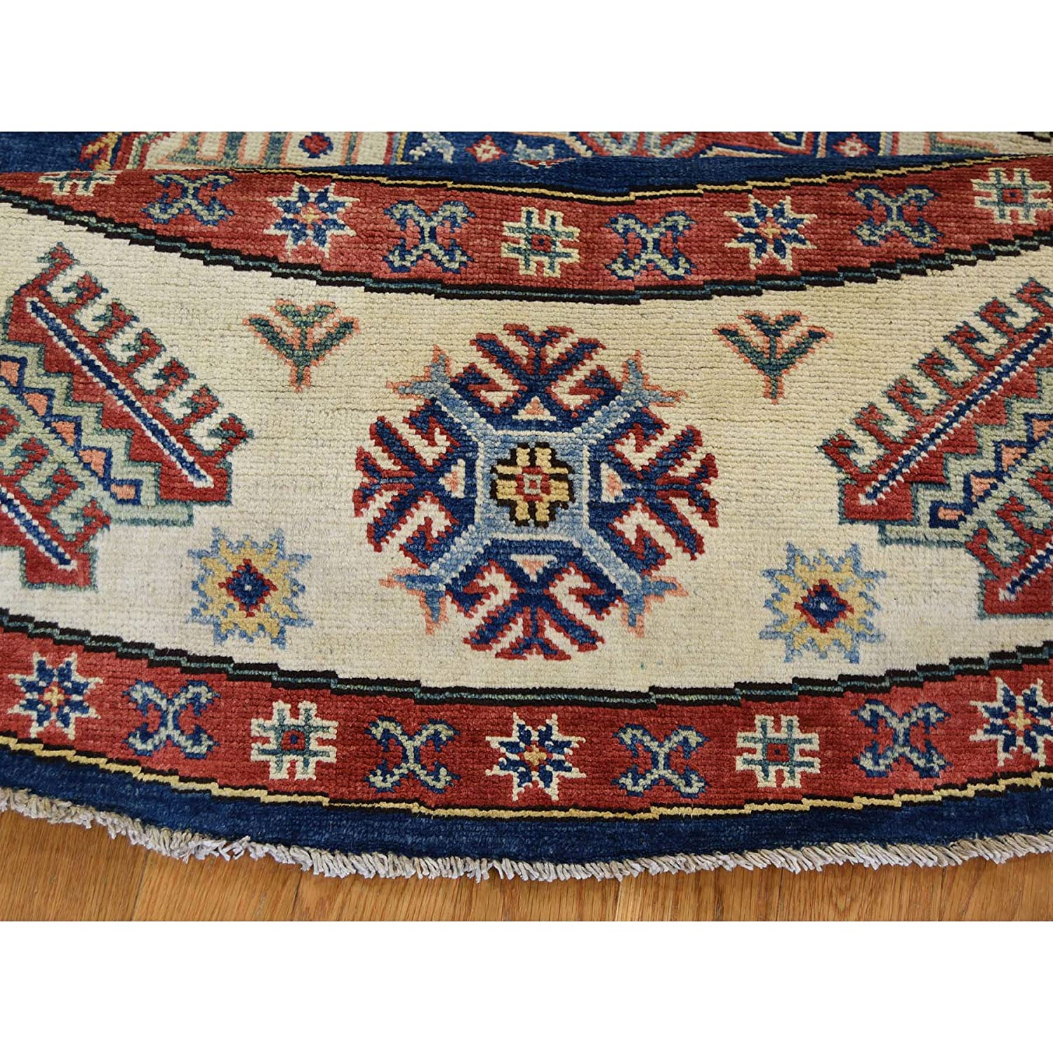 Amazon.com: Hand-Knotted Pure Wool Navy Blue Special Kazak Round Rug (79x8): Kitchen & Dining