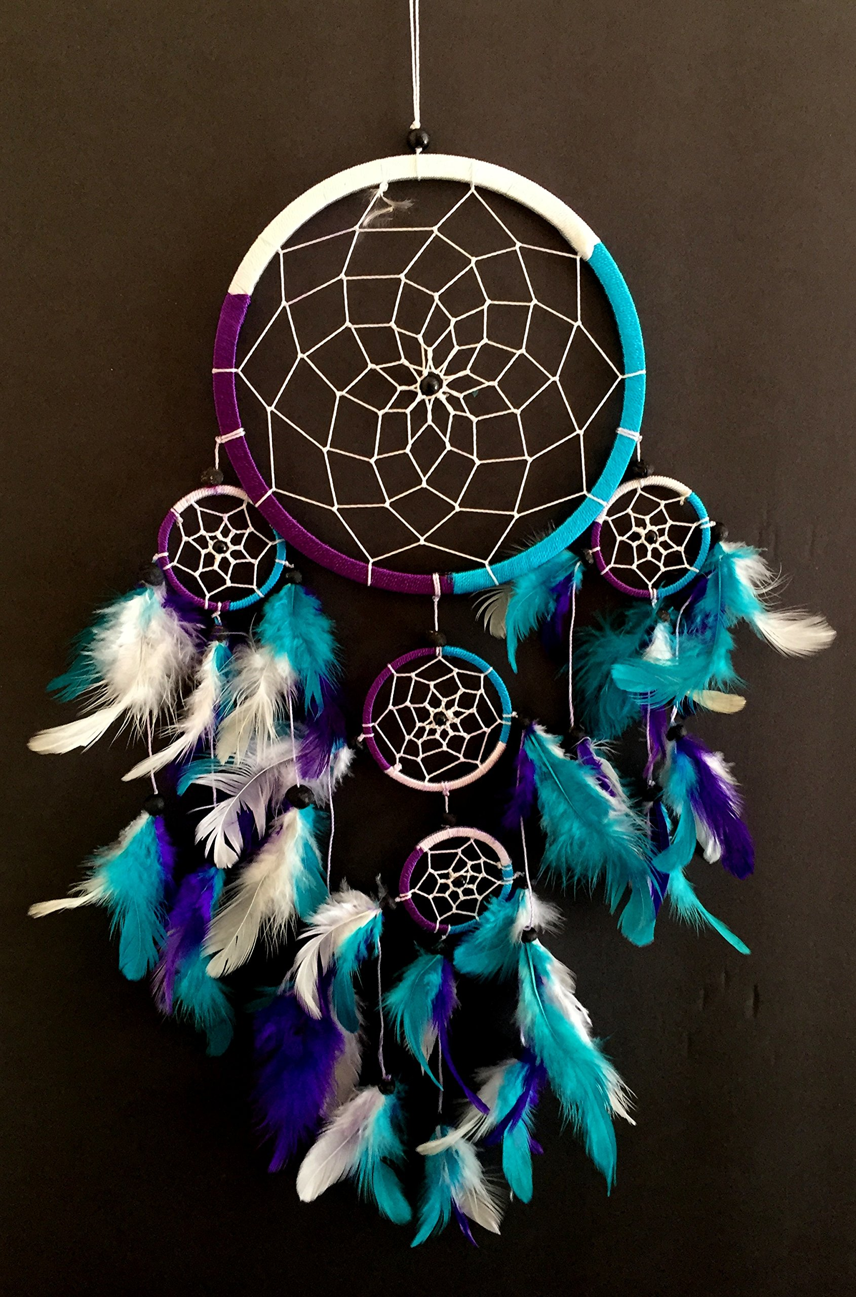 OMA Dream Catcher - Hand Crafted Traditional Tie Dye Colors Turquoise, Purple & White Feathers - Large Size - 9'' Diameter & 30'' Long