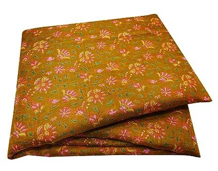 PEEGLI Impresa Sari Amarillo Mezcla De Seda De Bricolaje Mujeres Florales Indio del Vintage Usados Sari