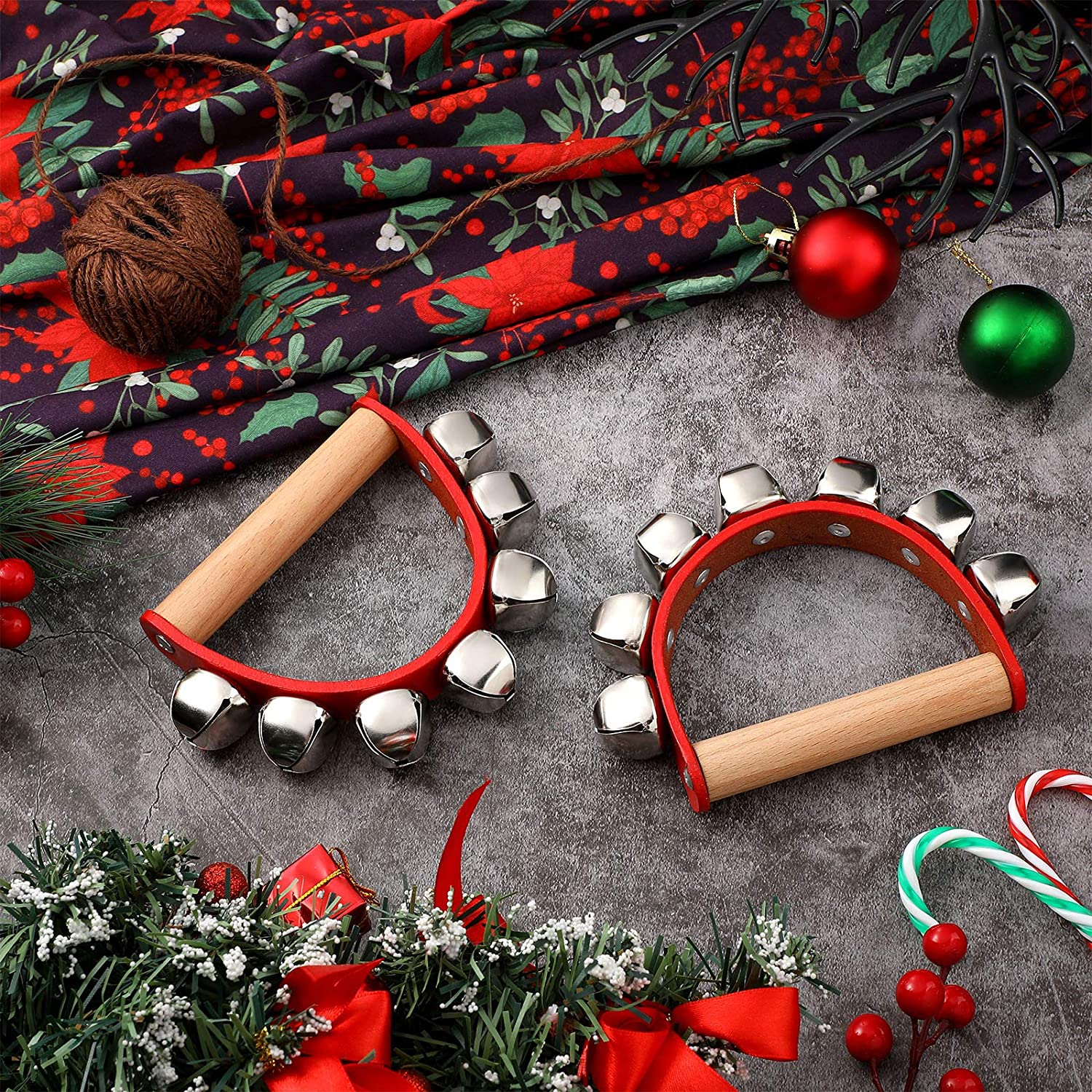 Wooden Handle Sleigh Ringbells Christmas Bells Musical Instrument for Holiday School Home Wedding Christmas New Year Decoration 18x5cm 3pcs MXJFYY Hand Jingle Bells