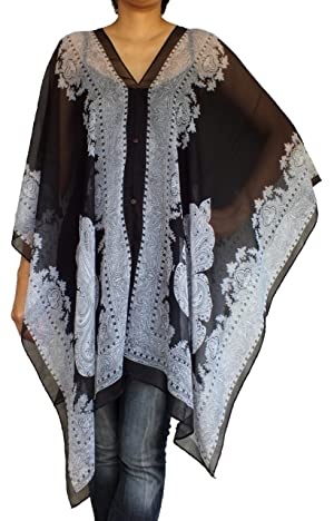 Scraf Caftan Tunic Poncho Cover-up, Paisley Print, Black-white