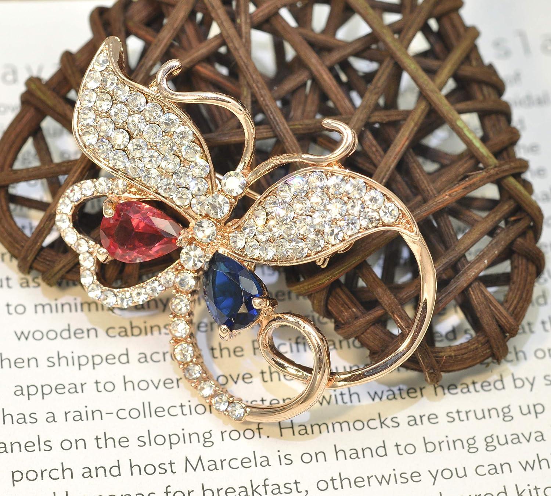Gyn/&Joy Butterfly Brooch Red Cubic Zirconia Rinestone Blue Austrian Crystal Pin