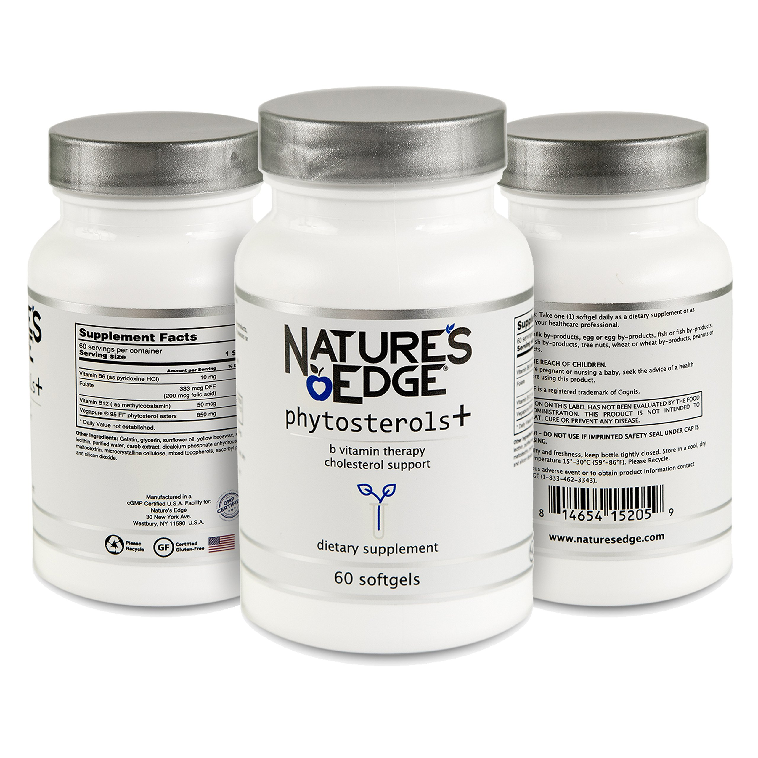 Natural Phytosterol Plus B Dietary Supplement by Nature's Edge® | Cholesterol Lowering Support with Vitamins B6 & B12 | Promote Cardiovascular Health & Reduce Blood Cholesterol Levels | 60 Softgels by Nature's Edge