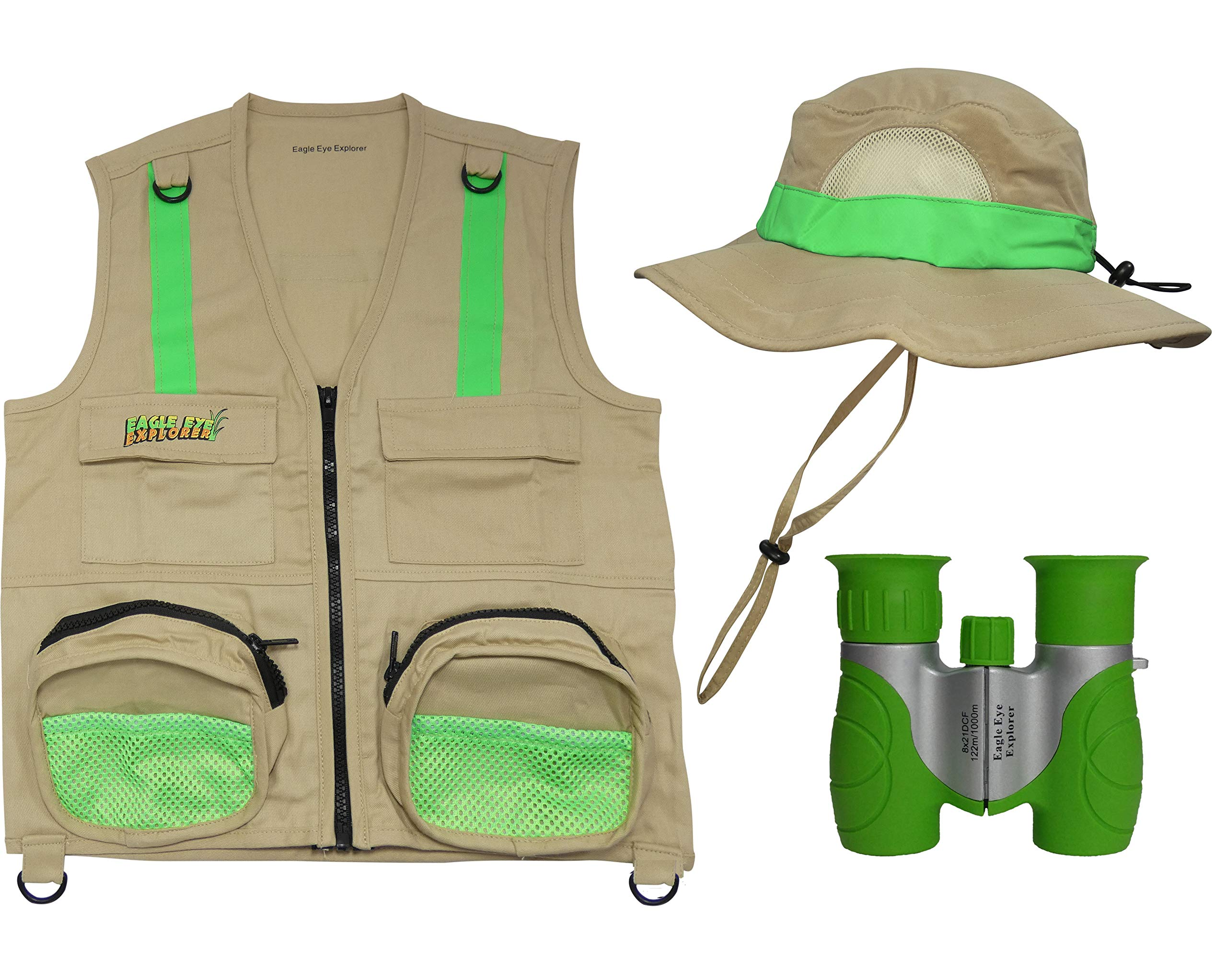 S/M Combination Set: 1 Tan Cargo Vest for Kids with Reflective Safety Straps - 1 Floppy Bucket Hat with Chin Strap - 1 8x21 Power Binoculars with Soft Rubber Eye Piece, Waterproof & Shcok-Resistant