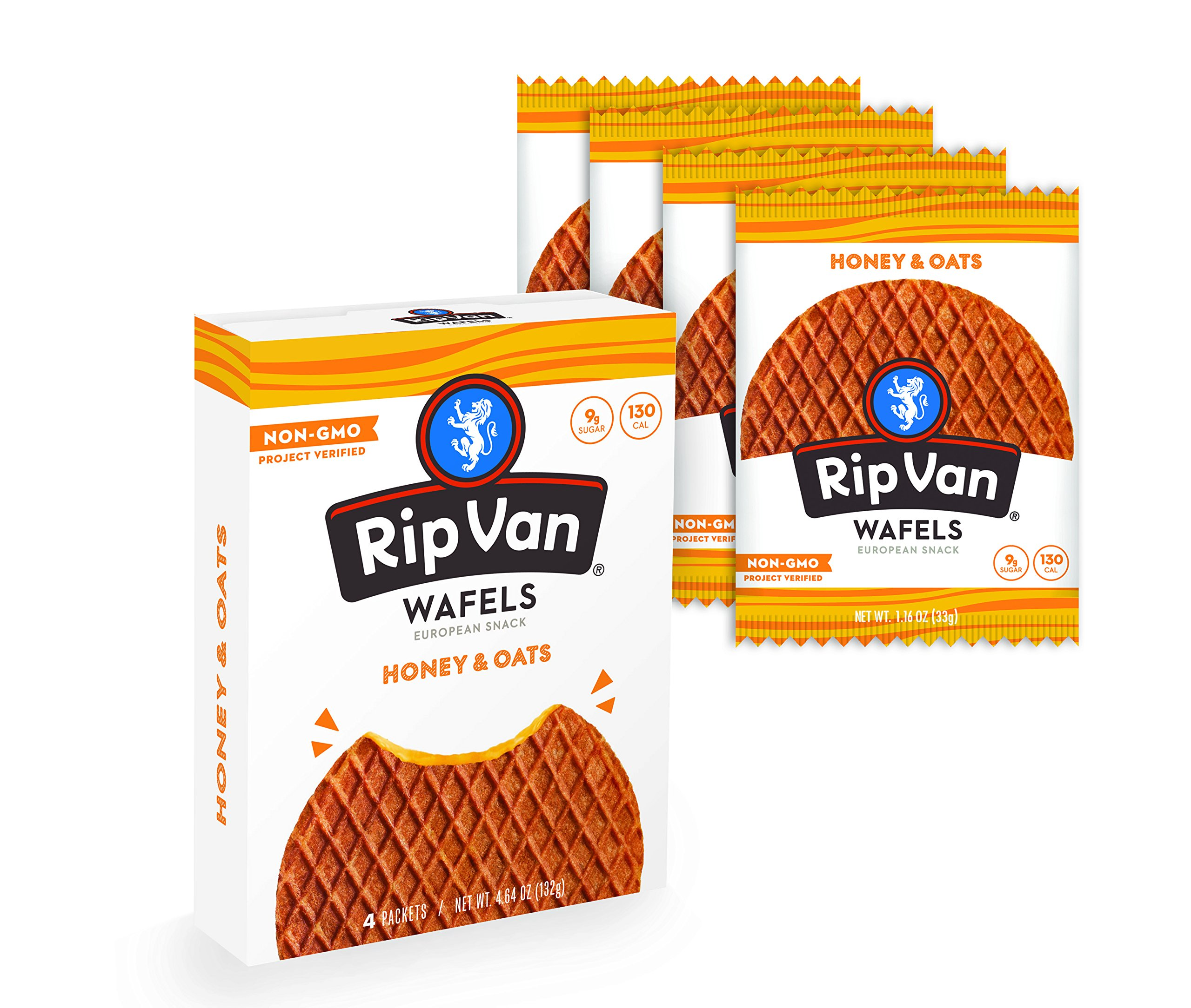 Rip Van Wafels Snack Wafels, Honey and Oats, 4 Count