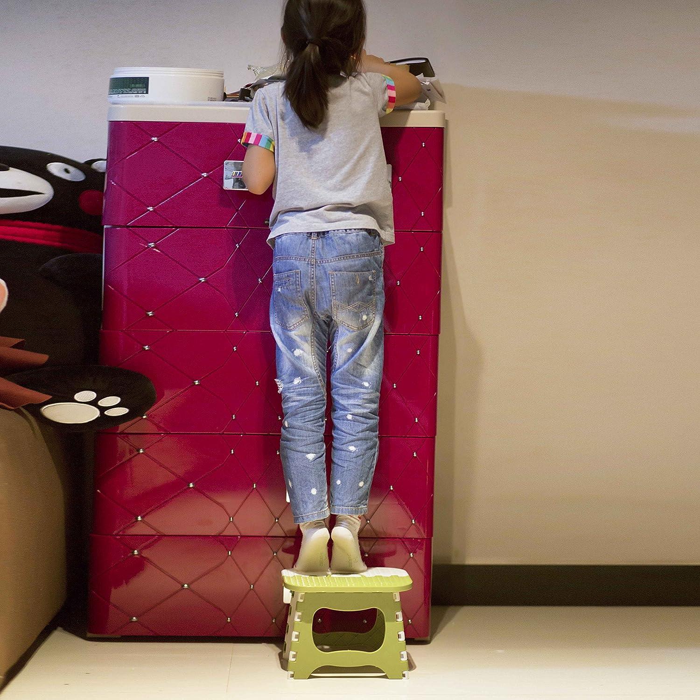 QH-Shop Plastica Pieghevole Sgabello,Sgabelli con Gradini per Camerette Multi Scopo per Cucina Bagno Gabinetto Caravan per Bambini Adulto Cachi
