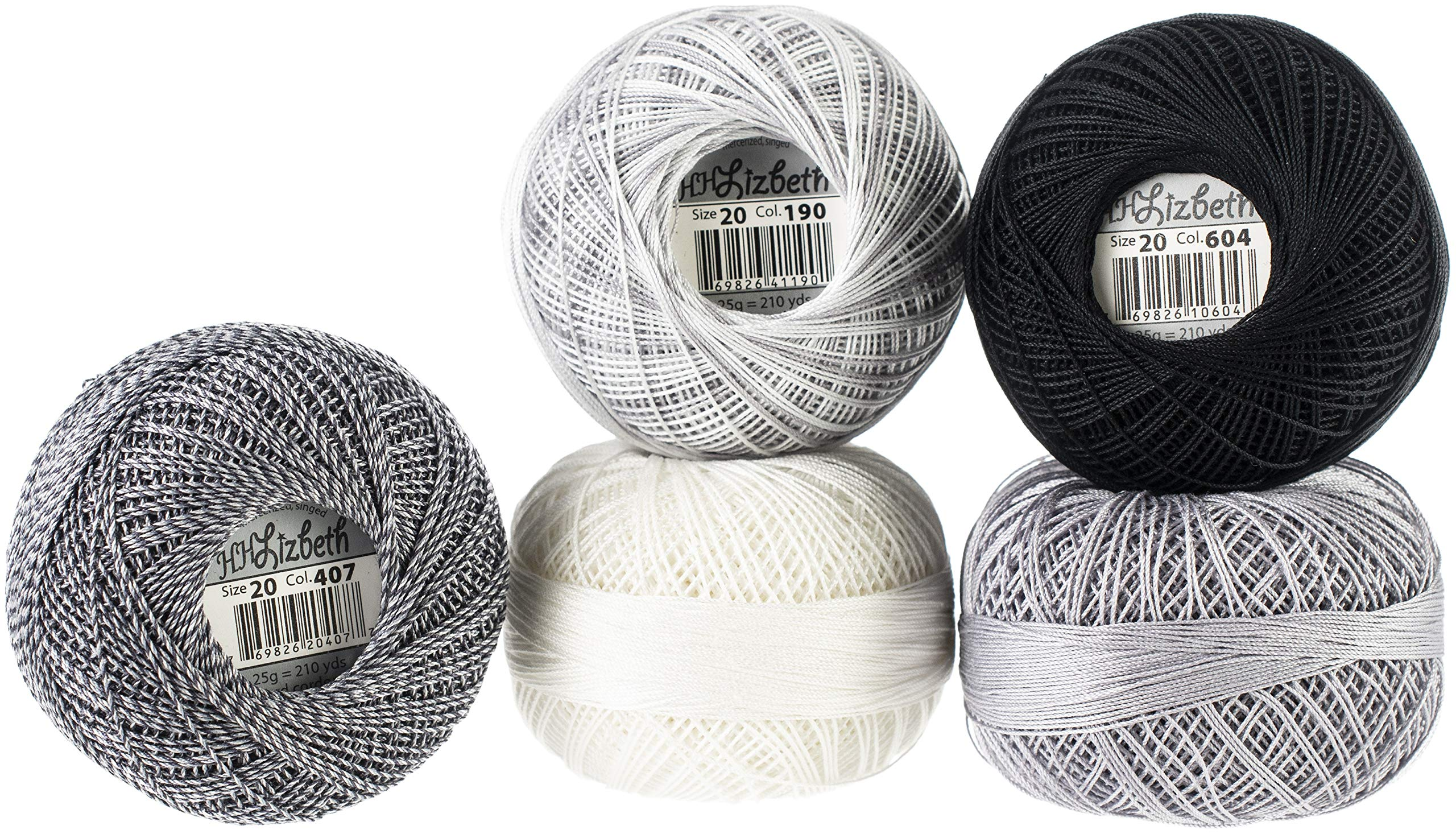 Handy Hands Lizbeth Specialty Pack Cordonnet Cotton Size 20-Silver Clouds 5/Pkg