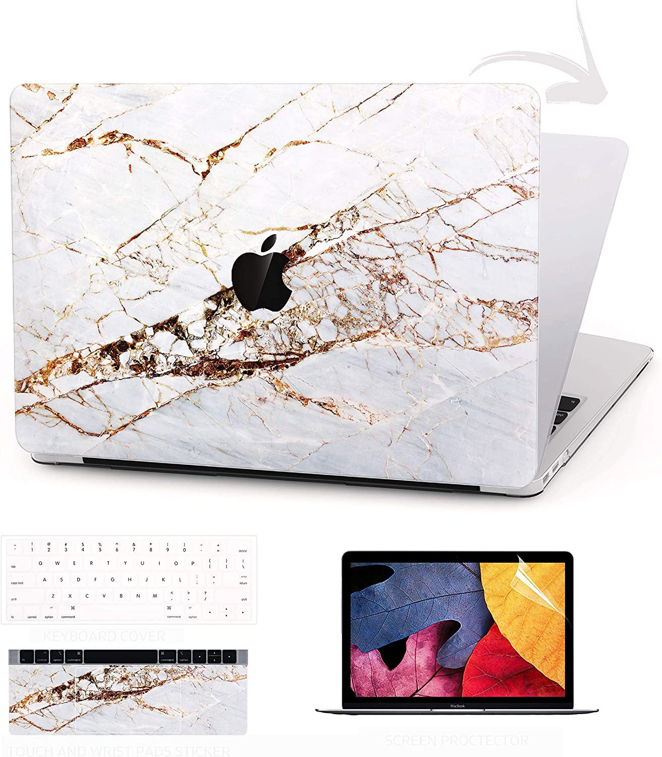 TIMOCY Laptop Case for MacBook Pro 13 Keyboard Cover Plastic Hard Shell Touch Bar 4 in 1 Bundle with Screen Protector for Mac Pro 13 Inch (Model:A1706/A1708/A1989),Abstract Slash Marble