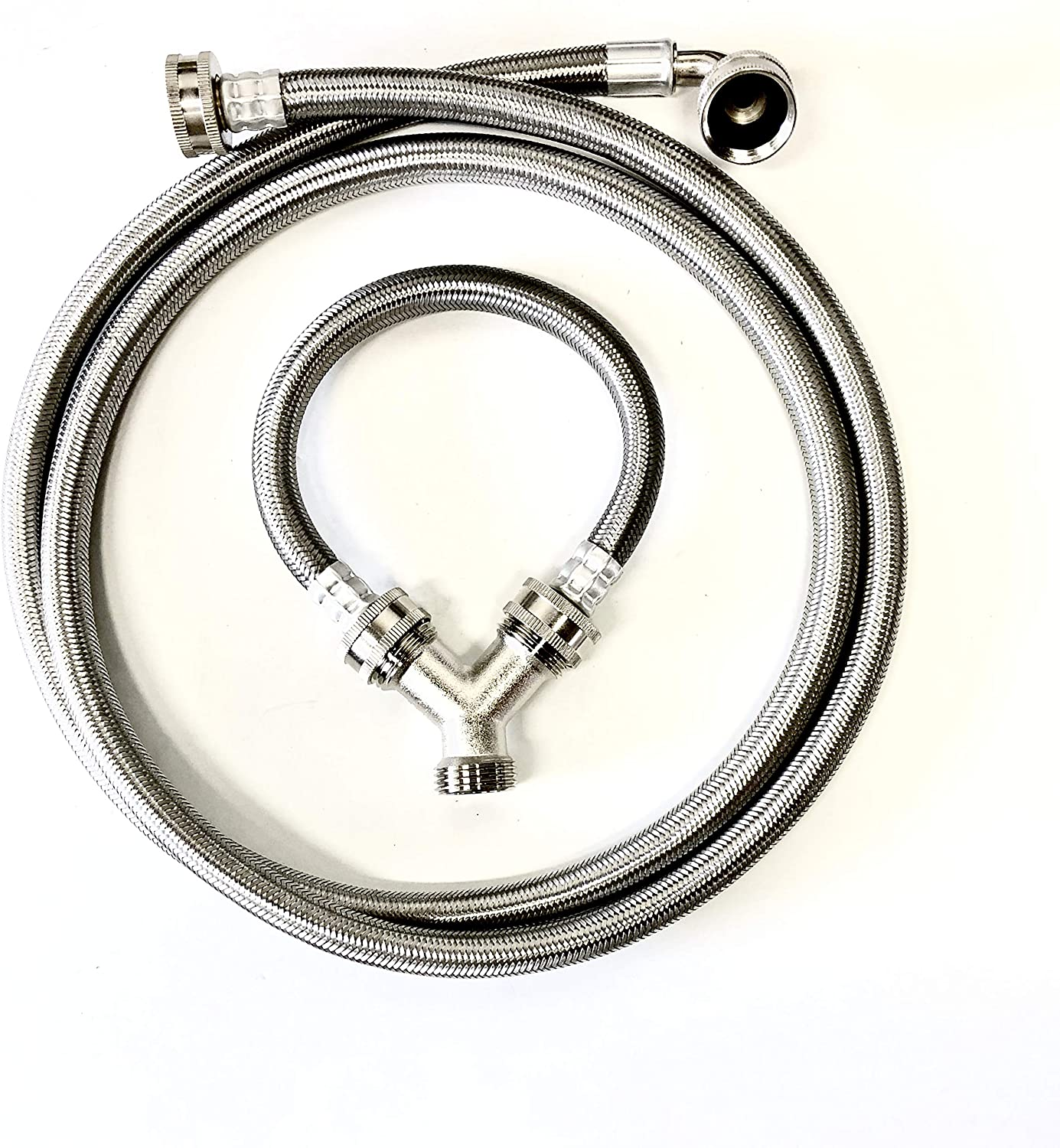 "Shark Industrial Steam Dryer Installation Kit - 6FT Stainless Steel Braided Hose with 3/4"" FHT 90 Degree Elbow and 1FT Inlet Hose 3/4"" FHT with Y-adapter"