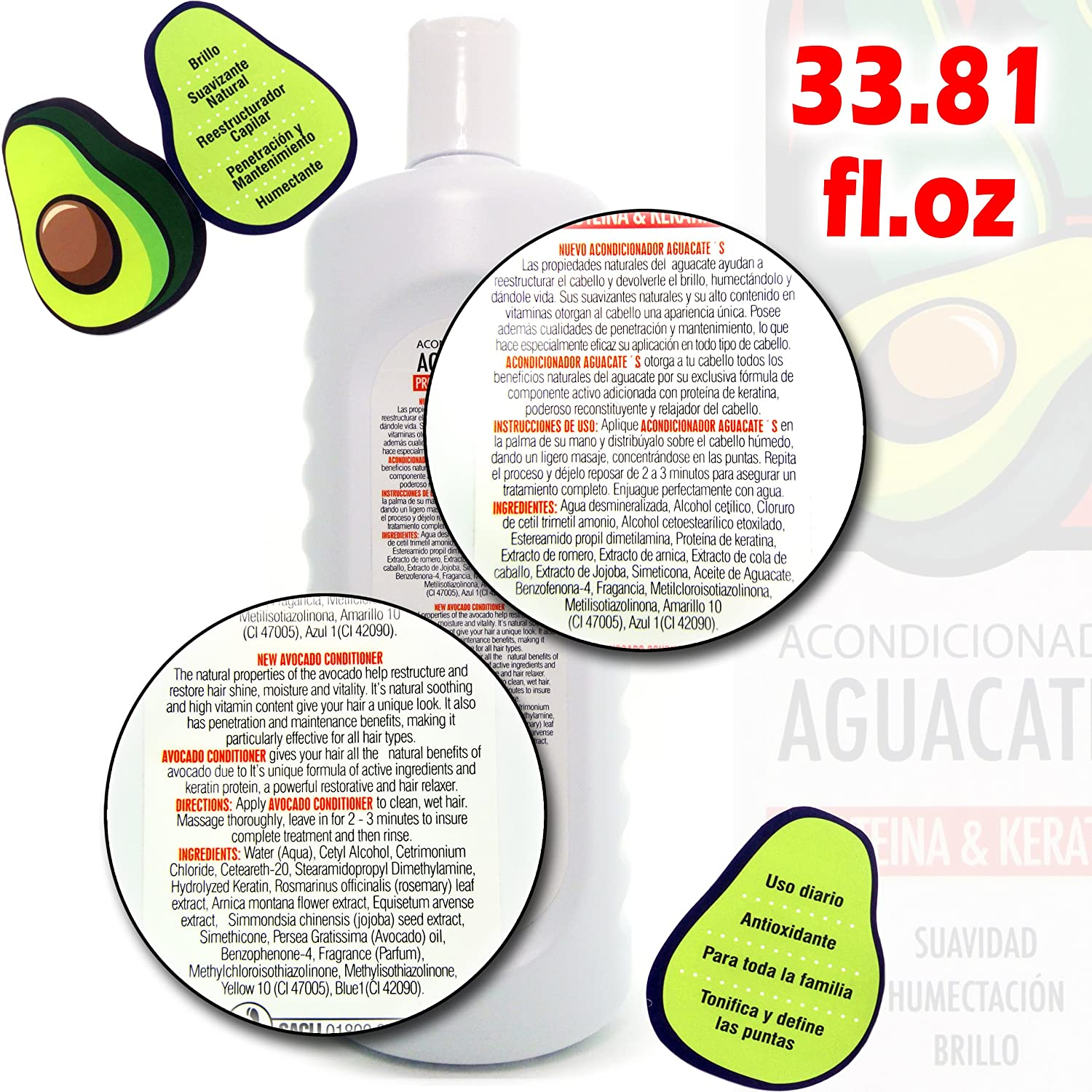 Amazon.com : Aguancates Acondicionador Proteina & Keratina 33.82oz (Avocado Conditioner) : Standard Hair Conditioners : Beauty