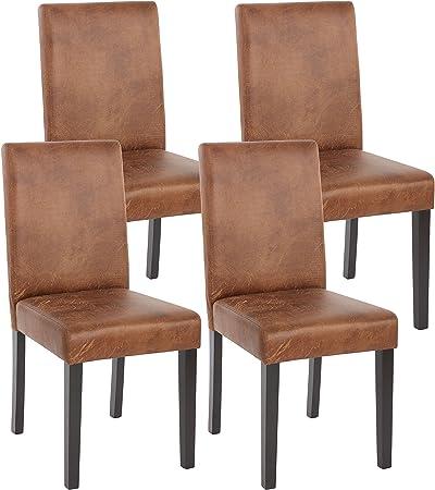 Mendler Lot de 4 chaises de séjour Littau, Simili Cuir, Aspect Daim Marron, Pieds foncés