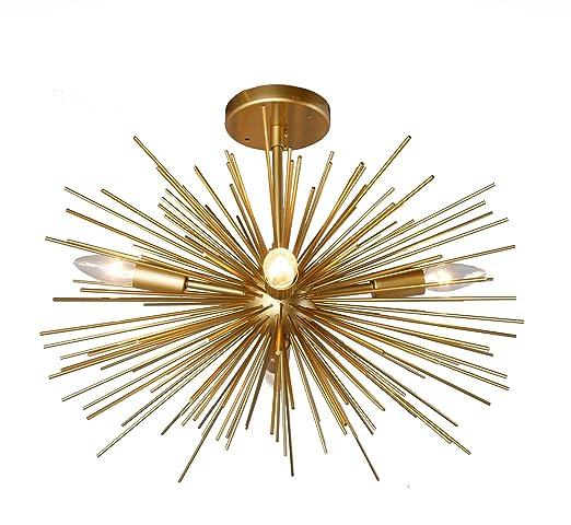 gold sputnik chandelier. 20 Inch Astra Sputnik Semi Flush Mount Lamp Gold Spike Starburst Light Mid Century Chandelier D