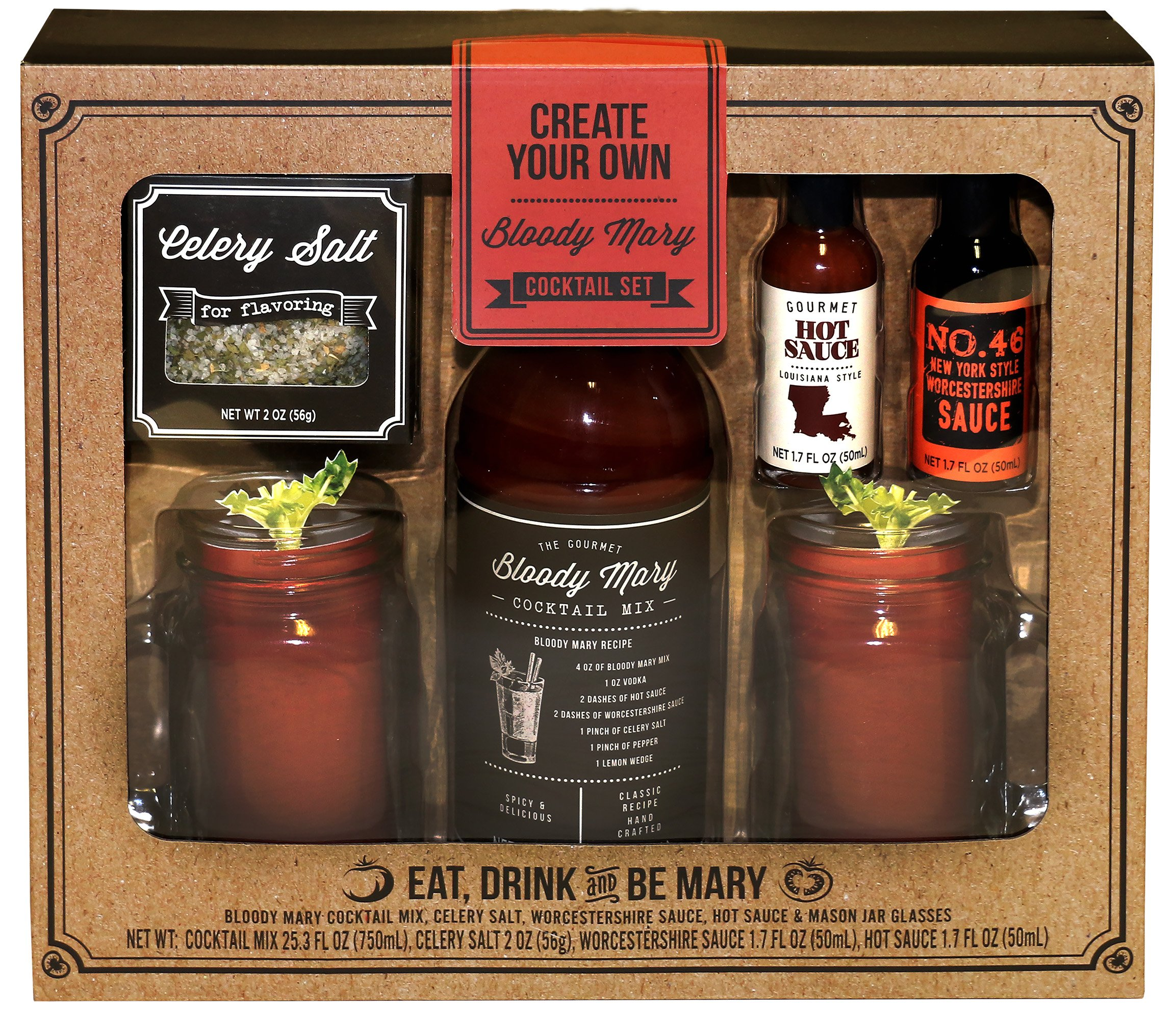 Create Your Own Bloody Mary Gift Set | Two Mason Jars with Handles, Bloody Mary Mix, Gourmet Hot Sauce, Worcestershire Sauce, Celery Salt