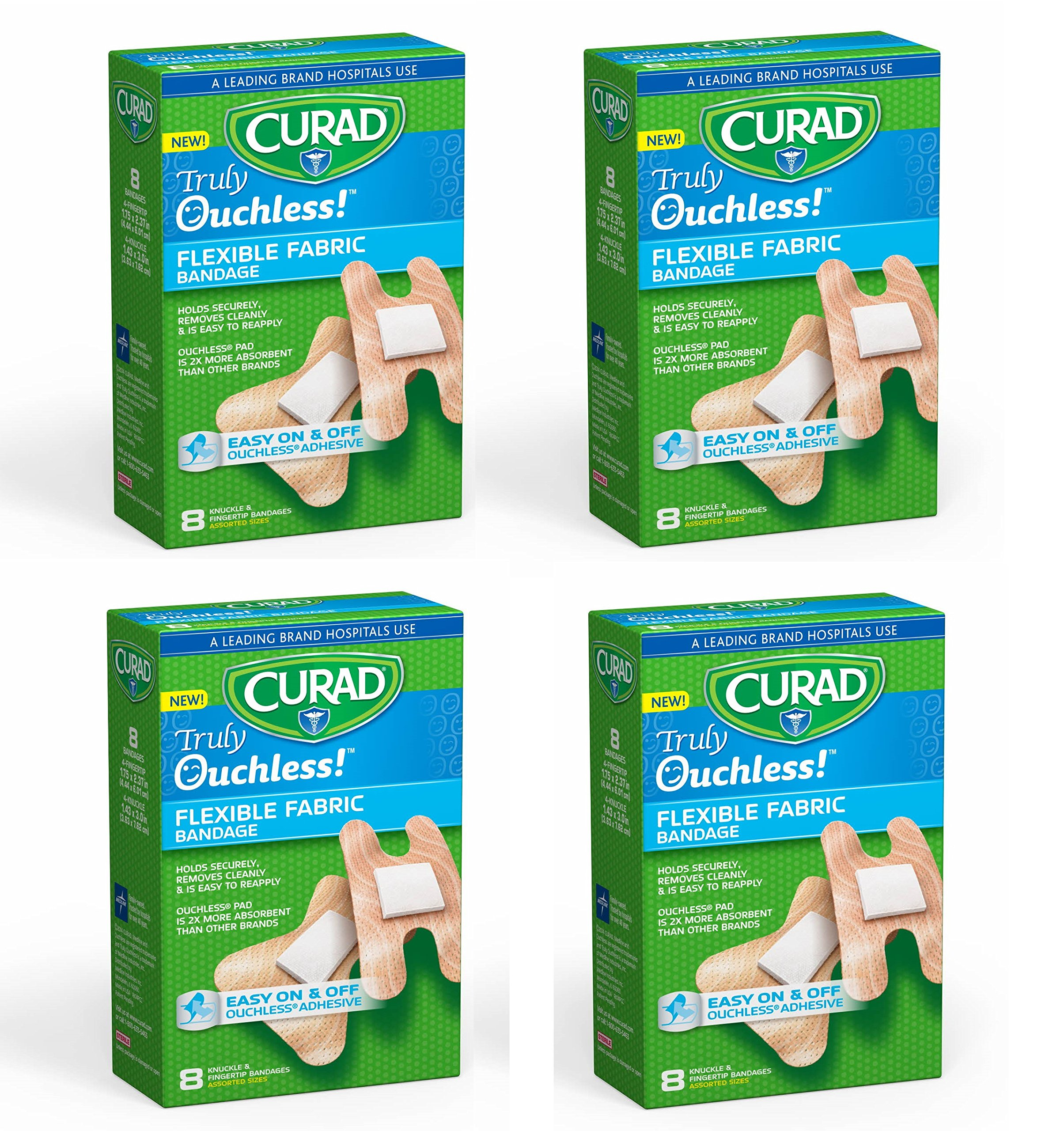 Curad Ouchless Flexible Fabric Knuckle and Fingertip Bandages, 8 ct (Pack of 4) + FREE Old Spice Deadlock Spiking Glue, Travel Size, .84 Oz