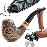 "Pear Wood Hand Carved Tobacco Smoking Pipe ""Pirate"" + Pouch"