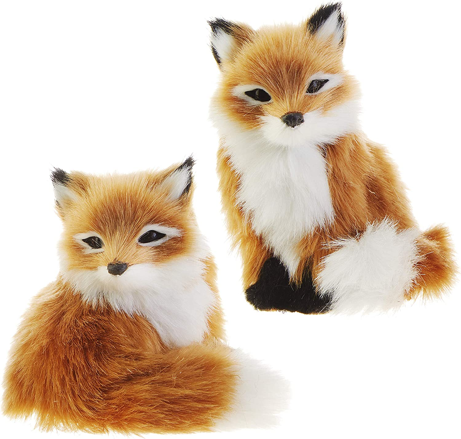RAZ Imports Faux Fur Fox Figurine Ornaments - Set of 2 Assorted