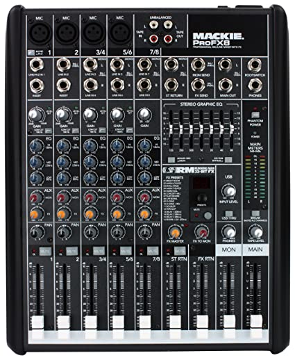 amazon com mackie profx8 8 channel mixer musical instruments rh amazon com Mackie Mixers Mackie ProFX16