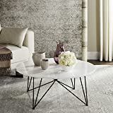 Safavieh Home Collection Maris Modern White Lacquer Round Hairpin Leg Coffee Table