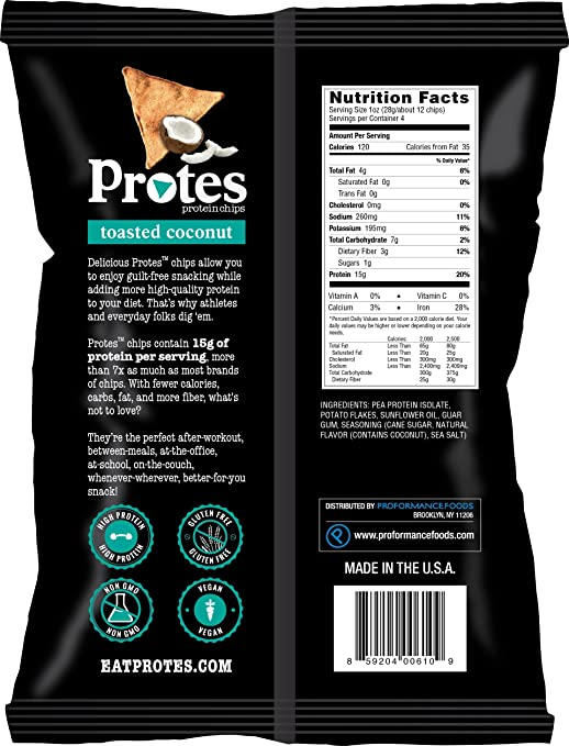 Amazon.com: Protes Protein Chips - Toasted Coconut - High Protein, Low Carb, Vegan, Gluten-Free, 4 oz. Bag (Pack of 3): Health & Personal Care