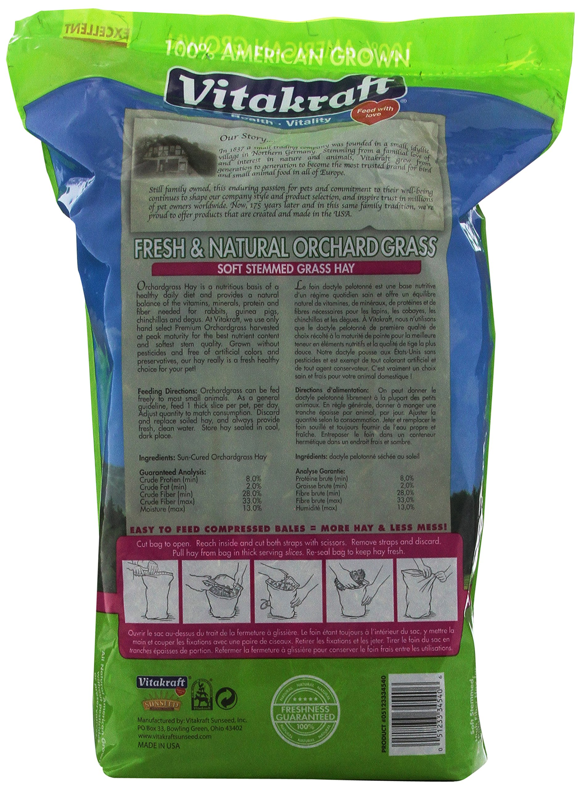 Vitakraft Orchard Grass, Premium Soft Stemmed Hay, 100% American Grown, 28 Ounce Resealable Bag by Vitakraft (Image #4)