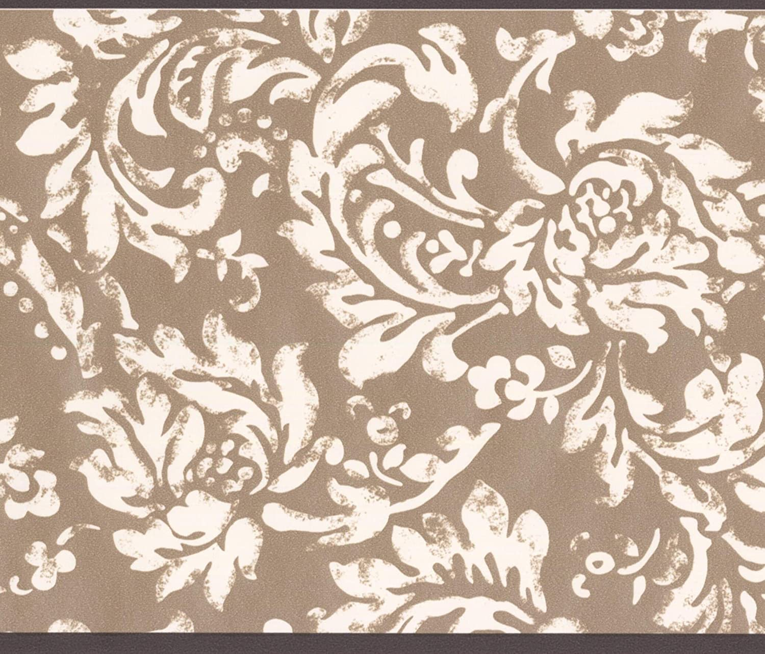 Amazon Com Modern White Floral Pattern Brown Damask Wallpaper