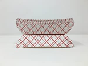 Mr. Miracle 7 Inch Paper Hot Dog Tray in Red White Pattern. Pack of 250. Disposable, Recyclable and Fully Biodegradable. Made in USA