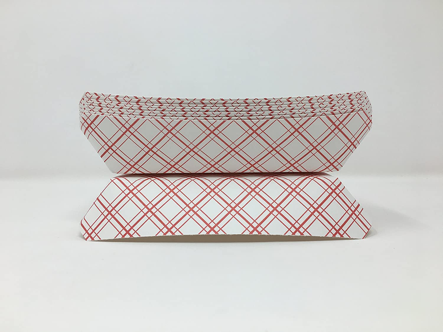 Mr. Miracle 7 Inch Paper Hot Dog Tray in Red White Pattern. Pack of 100. Disposable, Recyclable and Fully Biodegradable. Made in USA