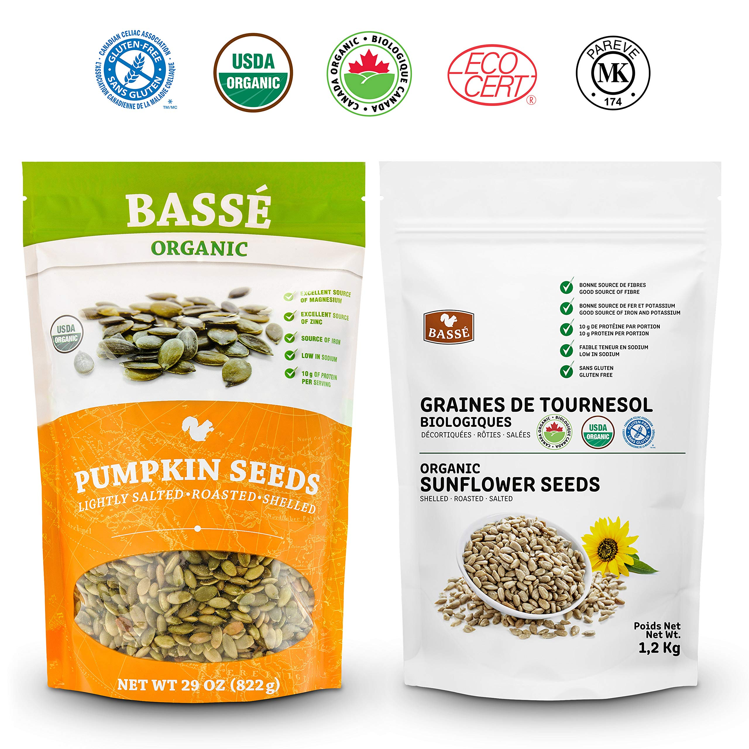 Basse Nuts Organic Pumpkin Seeds and Sunflower Seeds Multi Pack Roasted and Salted USDA and Kosher Certified 4.5 lb
