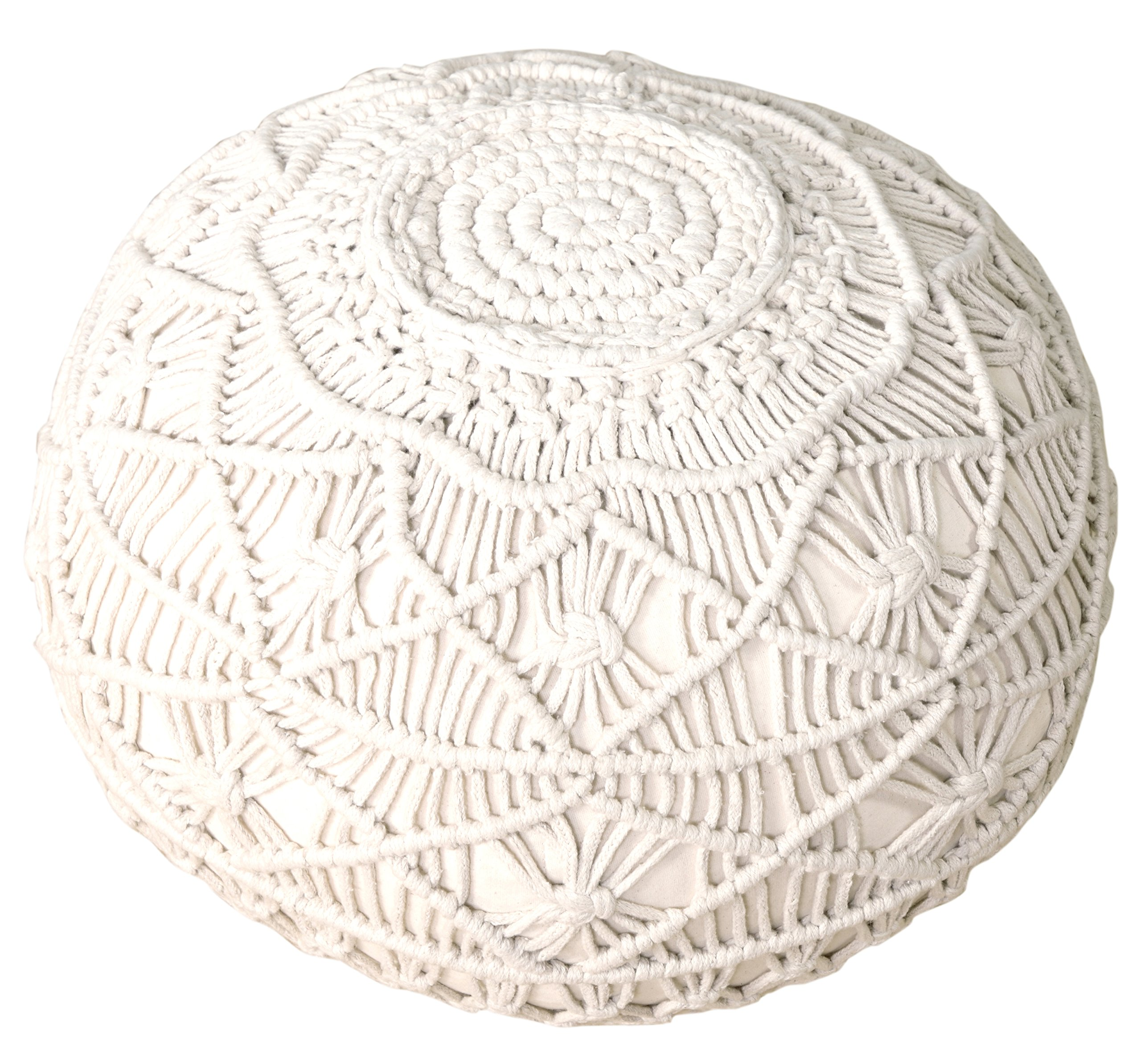 L.R. Resources Mystic Macramé Pouf Ottoman, 16'' x 20'', Natural by LR Resources