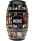 Wine Cork Holder for Counter Top - Large Size fits 130 Corks Black - Comes with Paso Barrel and Bottle Gift Box! (Black)