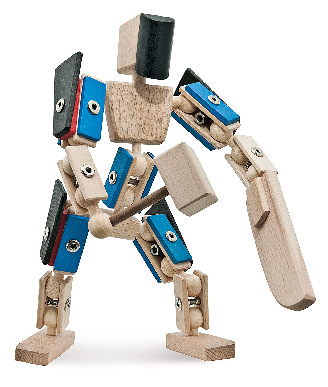 Actionfigur aus Holz - rewoodo Helden aus Holz Zaphiron - Zaphiron aus Holz - Holz Zaphiron Actionfigur