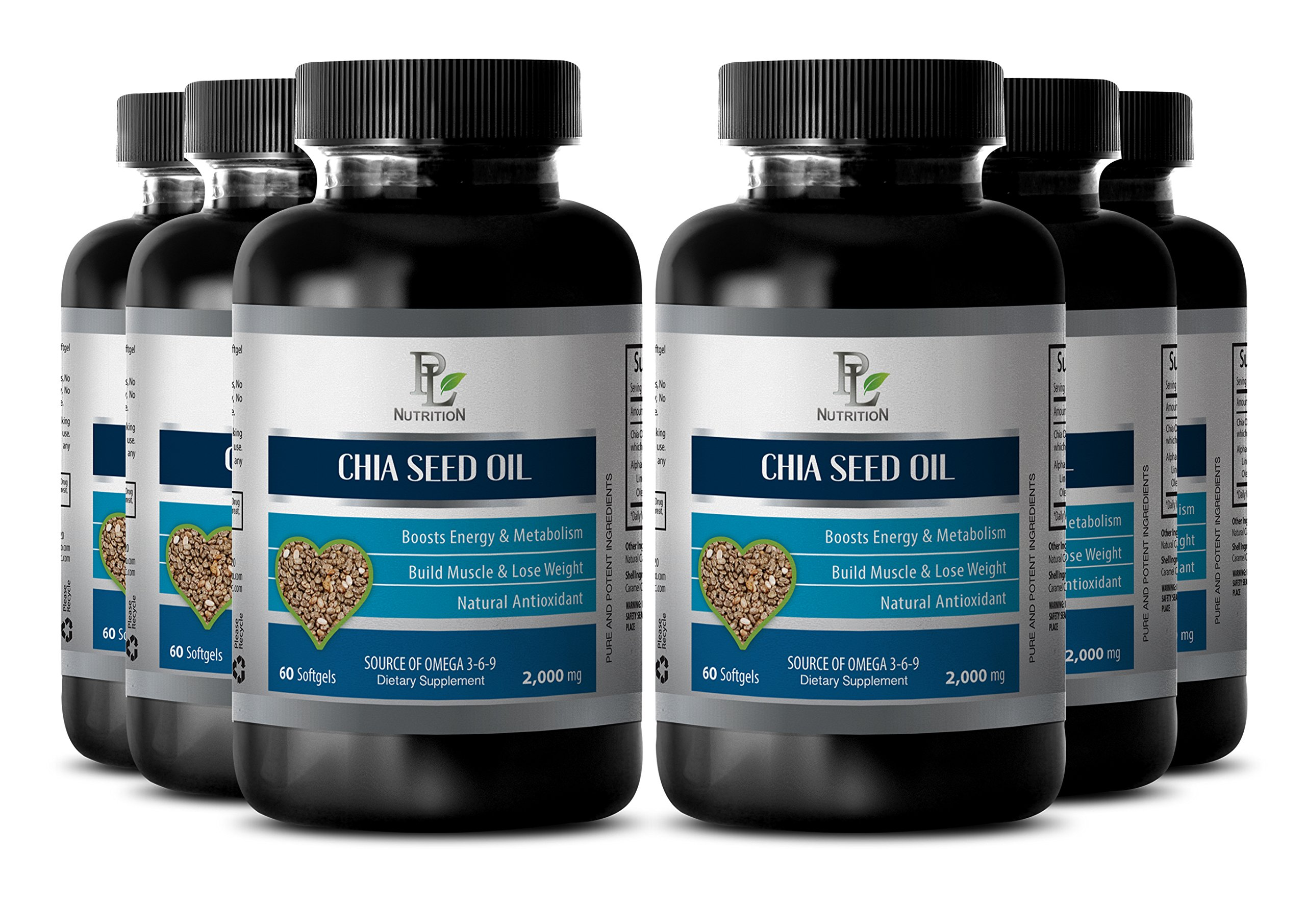 Memory herbal supplement - CHIA SEED OIL - Anti aging supplements - 6 Bottle 360 Softgels by PL NUTRITION