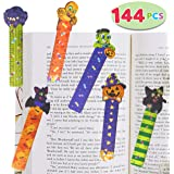 144 PCs Halloween Bookmark Rulers Party Favor Pack (6 Designs) with Halloween Themed Prints for Holiday Decorations…