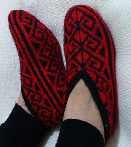 a9a7c4e2163f2 Amazon.com: Hand Knitting Home Slippers/Handmade Red Black Color ...