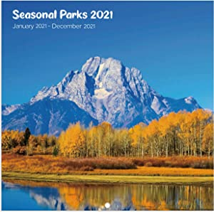 2021 Calendar - 12 Months Square Wall Calendar with Thick Paper, January 2021 - December 2021, 11.75''x 23.5'' (Open), Unruled Blocks - Seasonal Parks