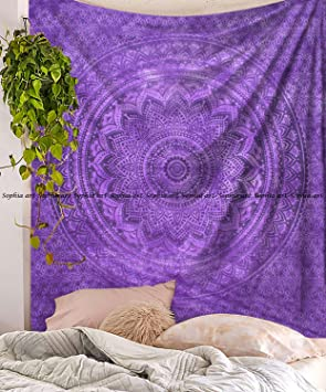 Sophia Art Tapiz de pared – Tapiz de pared con tinte púrpura Tye Ombre Mandala – Manta bohemia de picnic – Hippie decorativo y psicodélico decoración ...