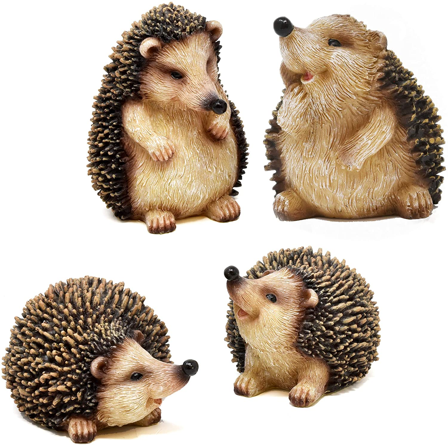 Gift Boutique Mini Hedgehog Figurine Fairy Garden Statue Set of 4 Resin Figurines Lawn Miniature Micro Landscape Animal Outdoor Patio Yard Small Decor Statues Ornament Decorations Garden Sculptures