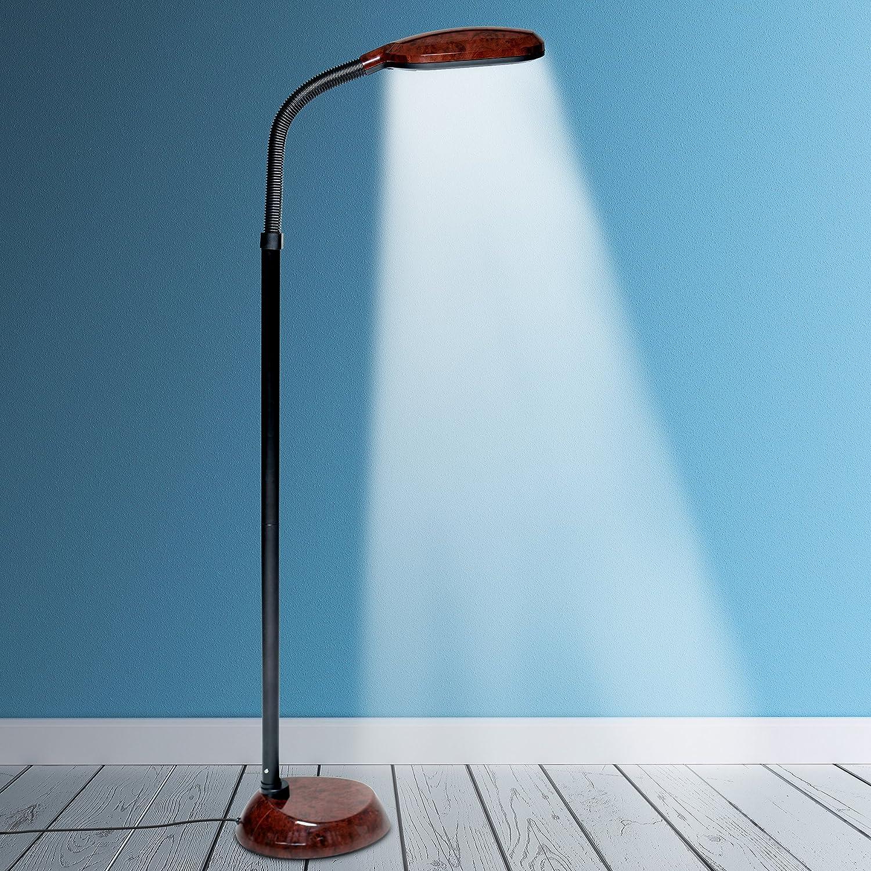 Kenley Natural Daylight Floor Lamp - Tall Reading Task Craft Light - 27W Full Spectrum White Bright Sunlight Standing Torchiere for Living Room, Bedroom or Office - Adjustable Gooseneck Arm - Brown