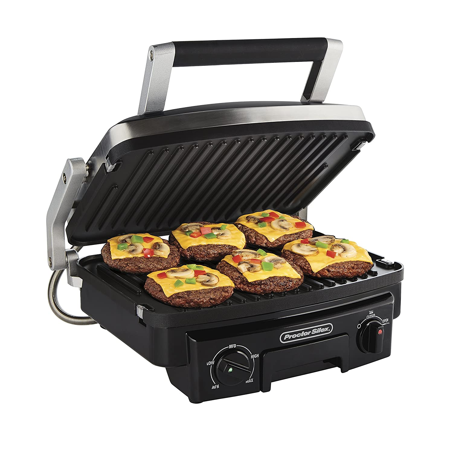 Proctor Silex 5-in-1 Electric Indoor Grill, Griddle Panini Press, Opens Flat to Double Cooking Space, Reversible Nonstick Plates, Stainless Steel 25340R