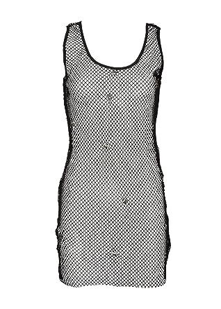 5b2b5a6e19 Pretty Attitude Women's Black Studded Mesh Fishnet Dress Swim Coverup –  Size Medium