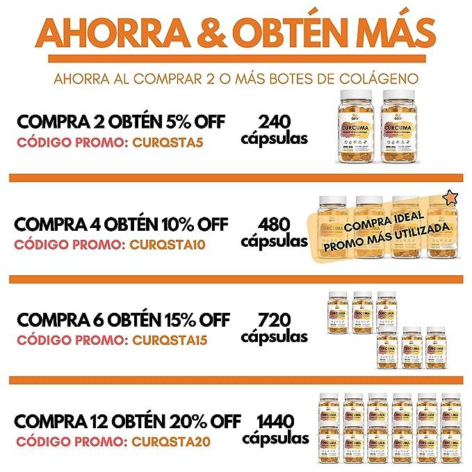 Curcuma en capsulas con pimienta + BioPerine | Cúrcuma Alta Potencia 2800MG 120 capsulas | Turmeric Curcumina + Piperine Pimienta Negra | ...