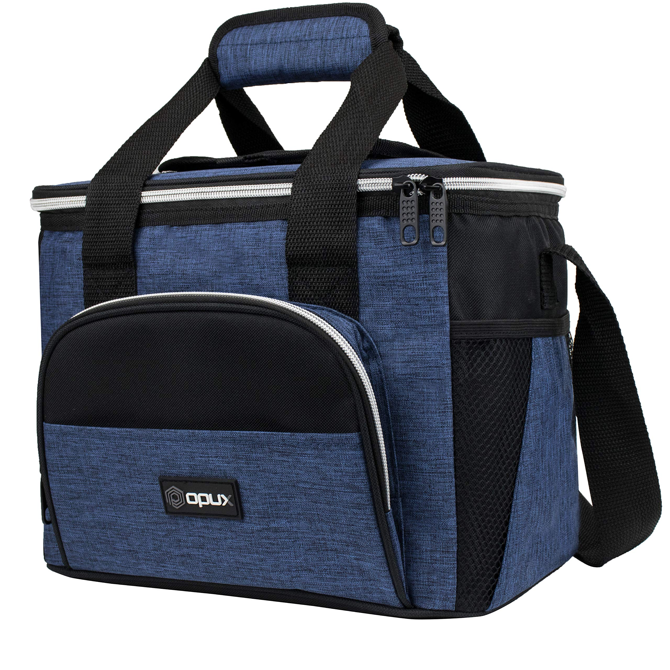 OPUX Insulated Small Cooler Bag for Travel | Soft Collapsible Cooler Bag for Family Camping, Beach | Large Leakproof Lunch Bag Box for Work, Construction Lunch Pail | Fits 16 Cans (Heather Navy)