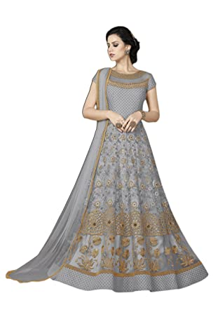 265a9cc190 Perfect Resource Fancy Partywear Designer Grey Color Net Top Semi-Stitched  Suit: Amazon.in: Clothing & Accessories