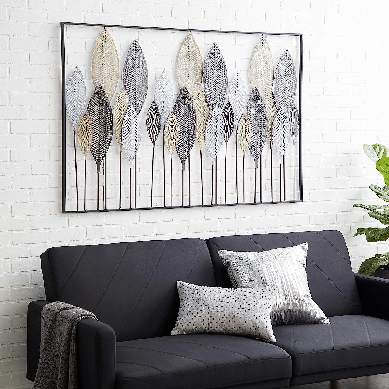 Amazon Com Deco 79 65650 Large Textured Brown White Gray Black Metal Leaf Wall Art 59 X37 Home Kitchen