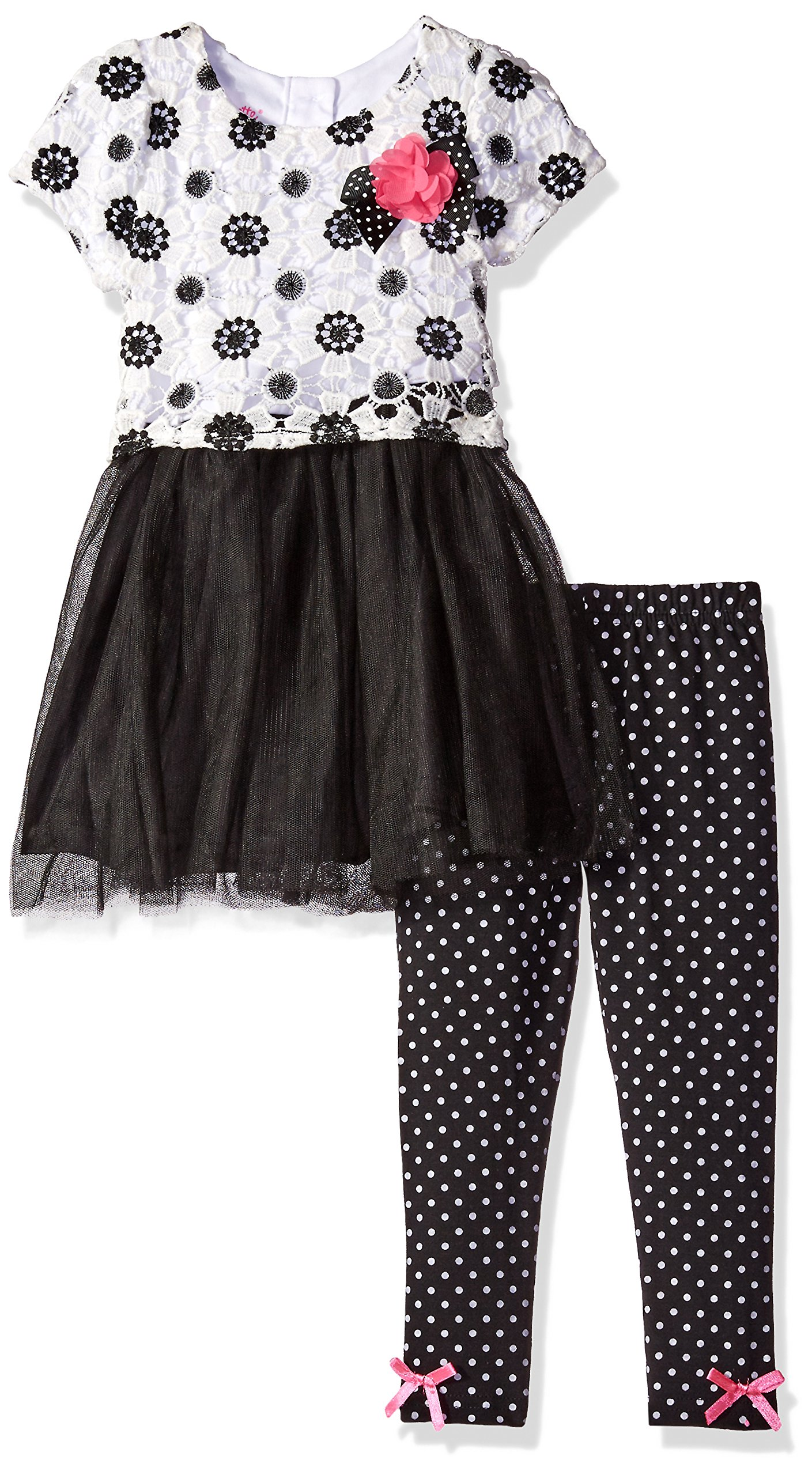 Nannette Little Girls' Toddler 2 Piece Fashion Legging Set with Crochet Lace Overlay, White, 2T