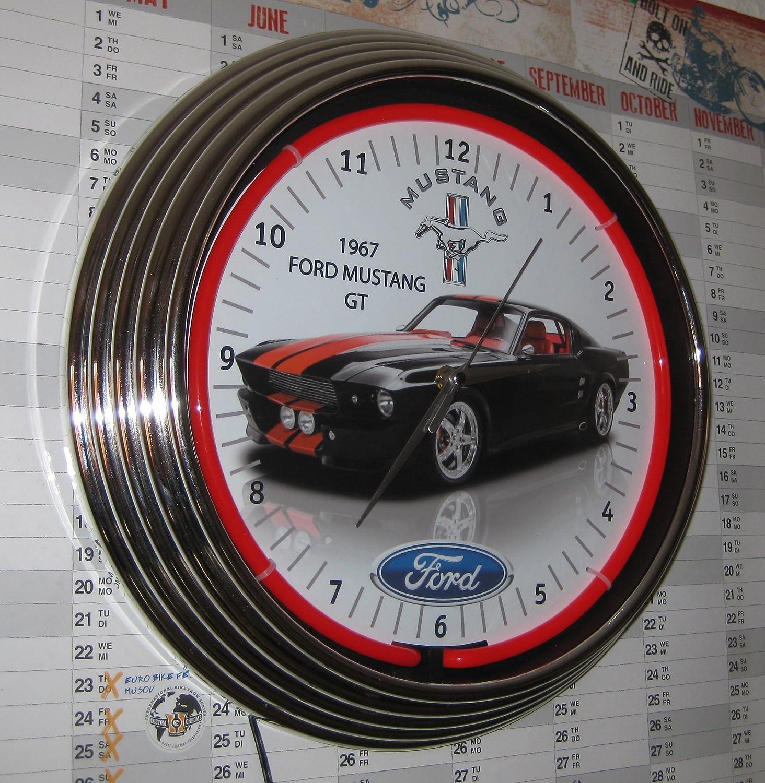 Neon reloj 1967Negro Ford Mustang GT–Reloj pared iluminado con anillo Neon Rojo