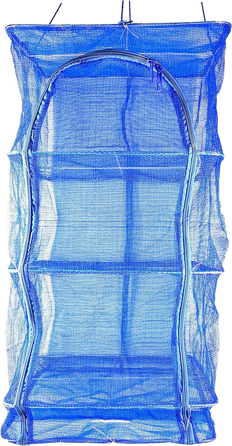 17.7inch Blue 3 Layer Non-Toxic Nylon Netting Collapsible Mesh Hanging herb Drying rac Drying Dry Rack Net Food Dehydrator Receive Storage Carrying Bag(45x45cm/17.7x17.7inch)